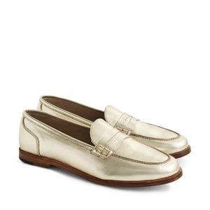 NEW J.CREW Ryan Penny Metallic Leather Loafers 8!